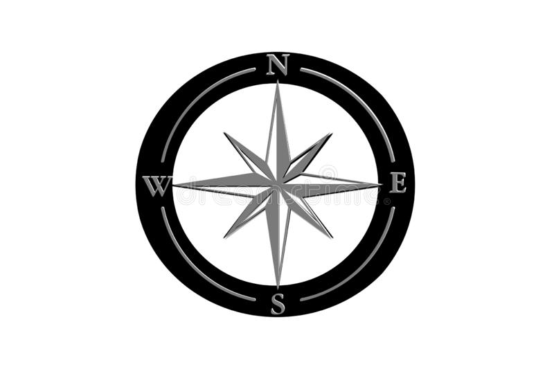 Compass sign icon. Wildrose navigation symbol. Illustration, map, mark, butyon, banner, label, app, geography, north, west, flat, new, design, retro, concept royalty free stock photos