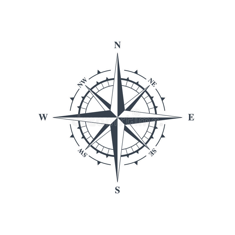Compass sign, wind rose stock illustration