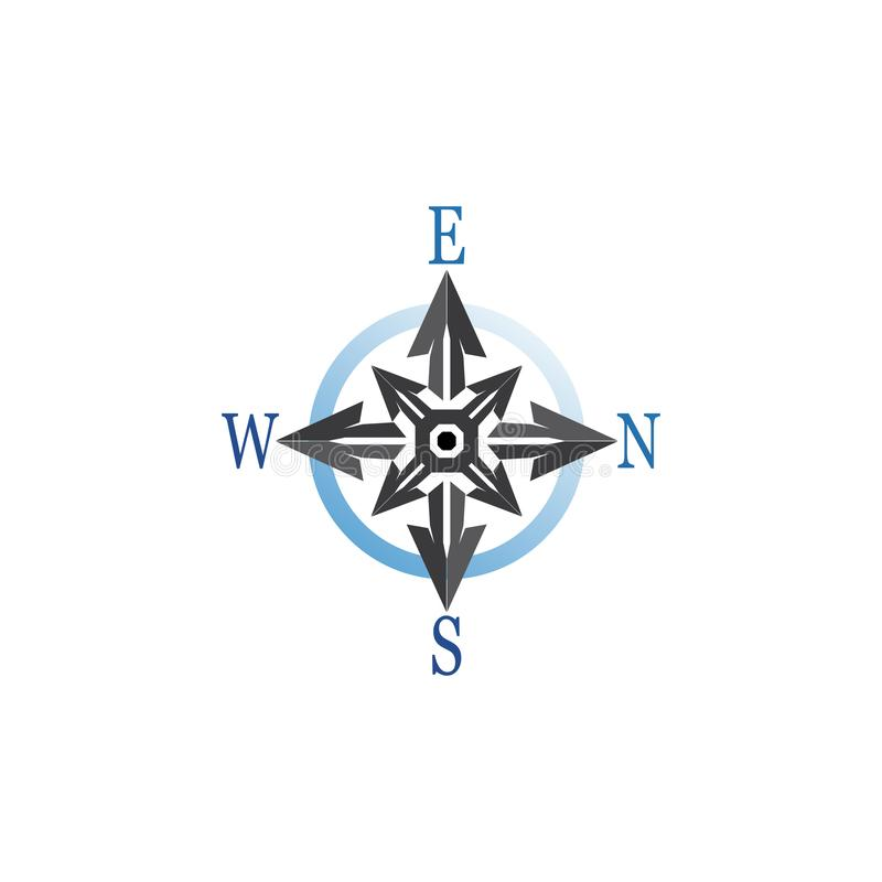 Compass signs and symbols logo design vector royalty free illustration