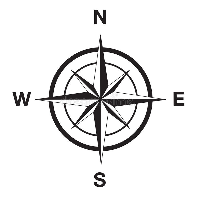 Compass silhouette in black. This image is a vector illustration