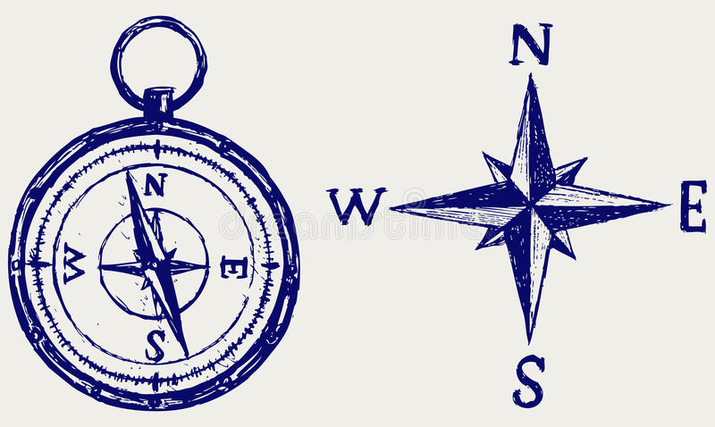 Compass sketch royalty free illustration