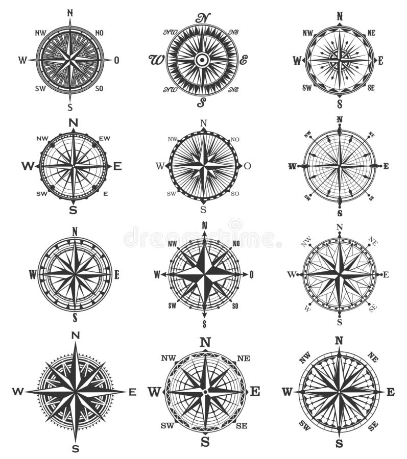 Vintage compass symbols and signs vector illustration