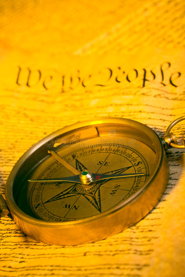 Compass And United States Constitution Stock Images