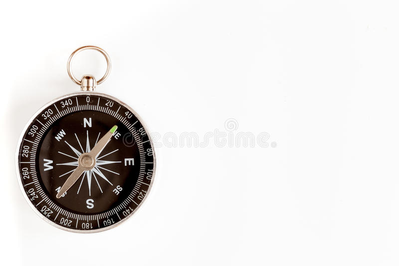 Compass on white background concept - direction motion top view. Compass on white background concept direction of motion top view royalty free stock image