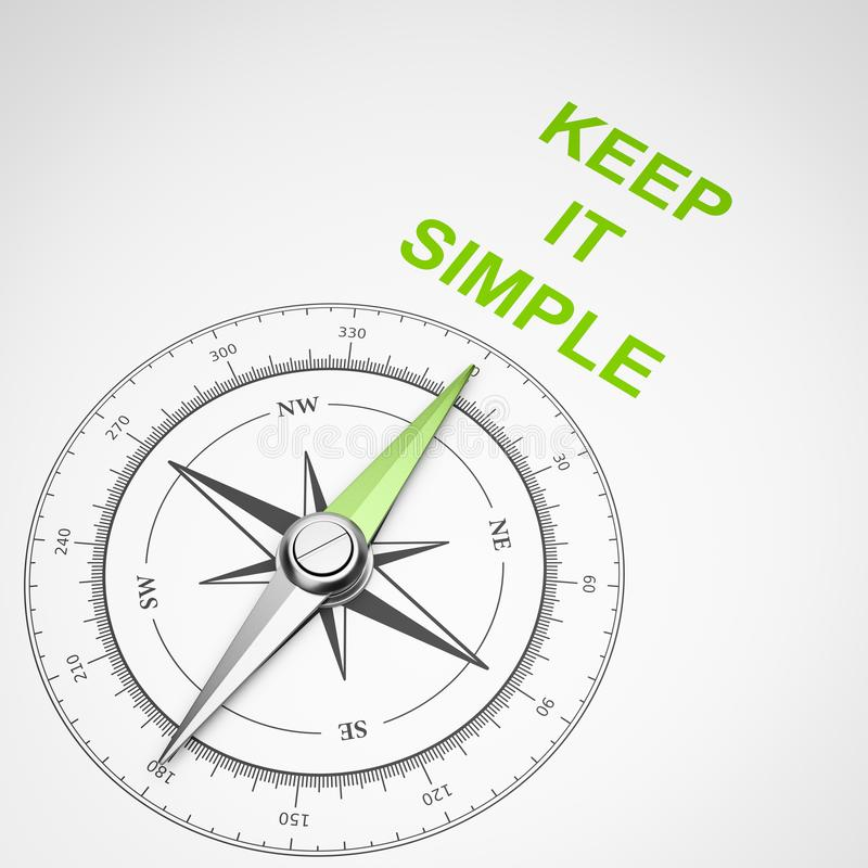Compass on White Background, Keep It Simple Concept royalty free illustration