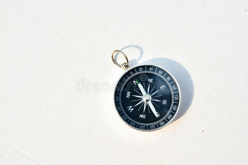 Compass on a white background. Magnetic navigation tool on a clean sheet of paper royalty free stock photo