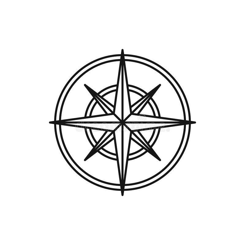 Compass wind rose icon, outline style. Compass wind rose in outline style isolated on white background vector illustration vector illustration
