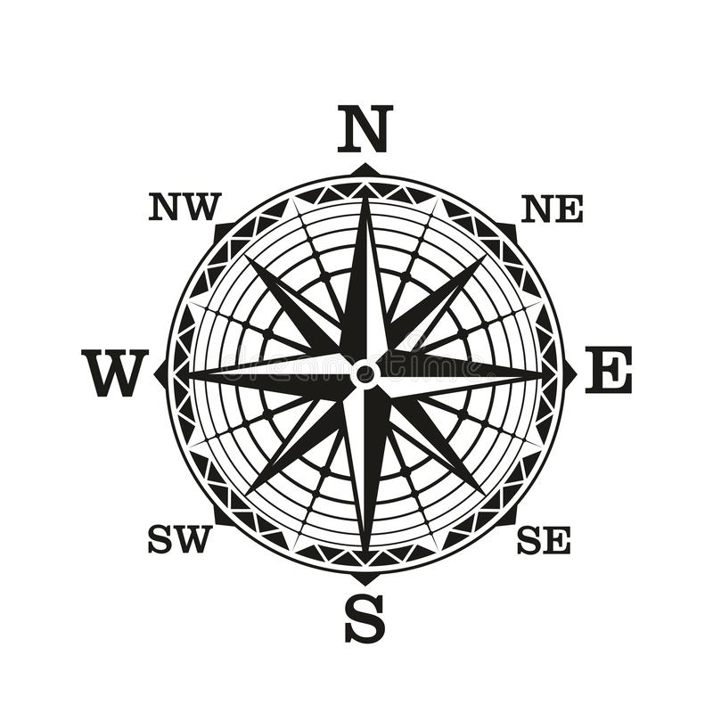 Compass wind rose, vintage nautical vector vector illustration