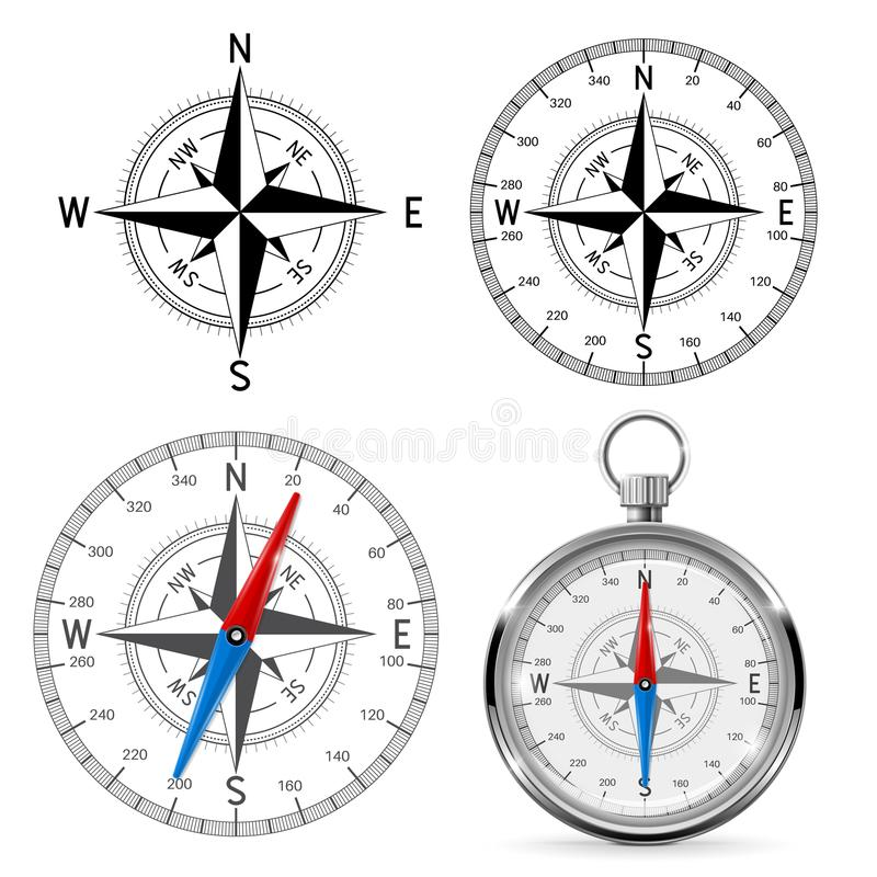 Compass wind roses stock illustration