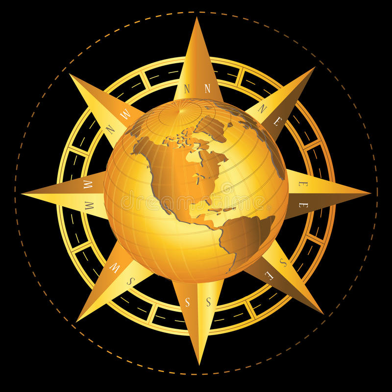 Compass World. Gold compass with world map illustration royalty free illustration