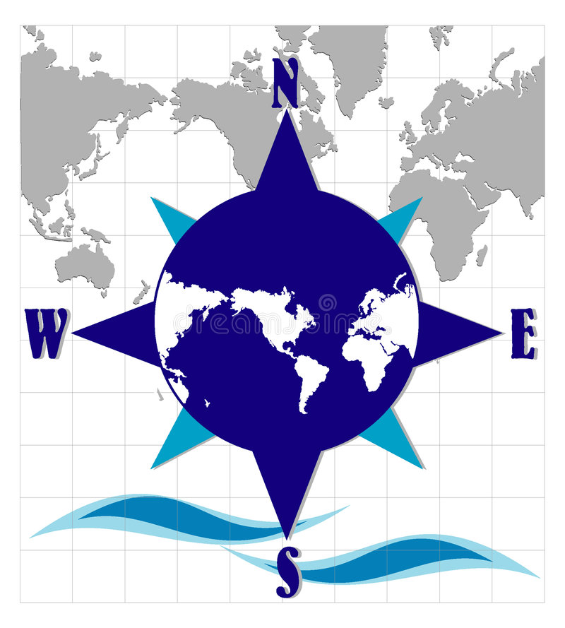Compass with world map vector illustration