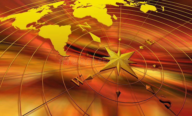 Compass with world map stock illustration