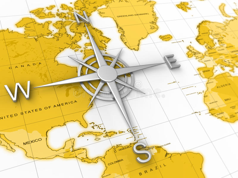 Compass, world map, travel, expedition, geography stock illustration