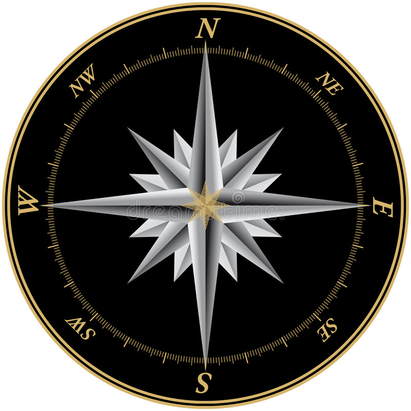 Compass3. Compass illustration with black background and marks for each of the 360 degrees stock illustration