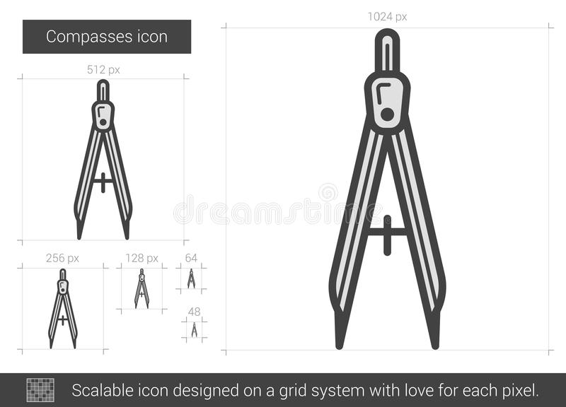 Technical Compass Hand Drawn Sketch Icon  Stock Vector
