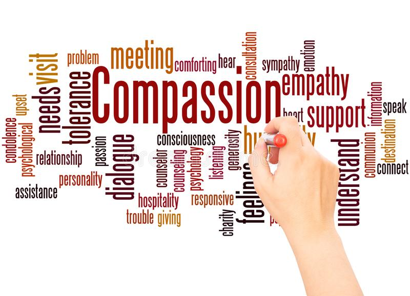 Compassion word cloud hand writing concept. On white background royalty free stock images