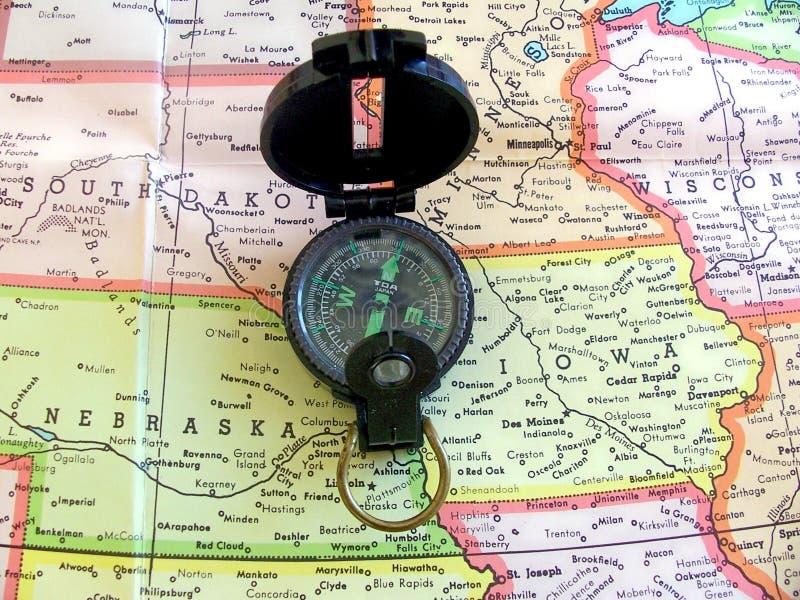 Compasso & mapa imagem de stock royalty free