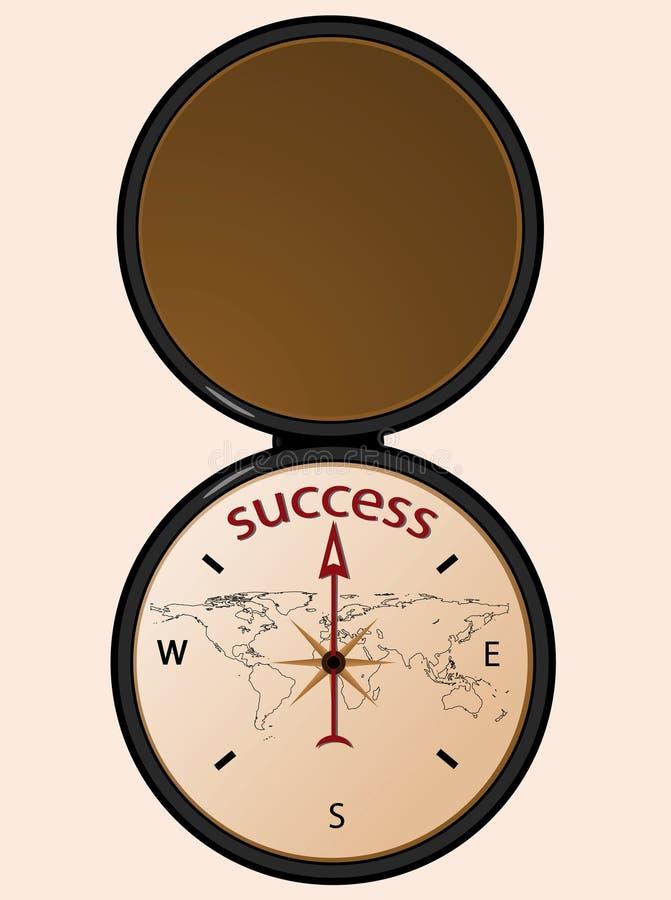 Compasso ao sucesso ilustração stock