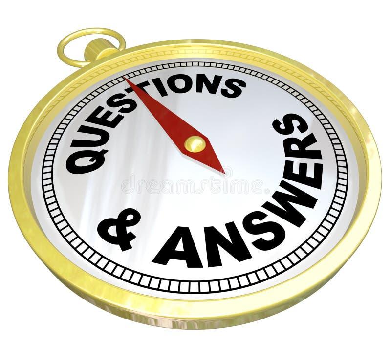 Compasso - auxílio da ajuda das perguntas e resposta ilustração royalty free