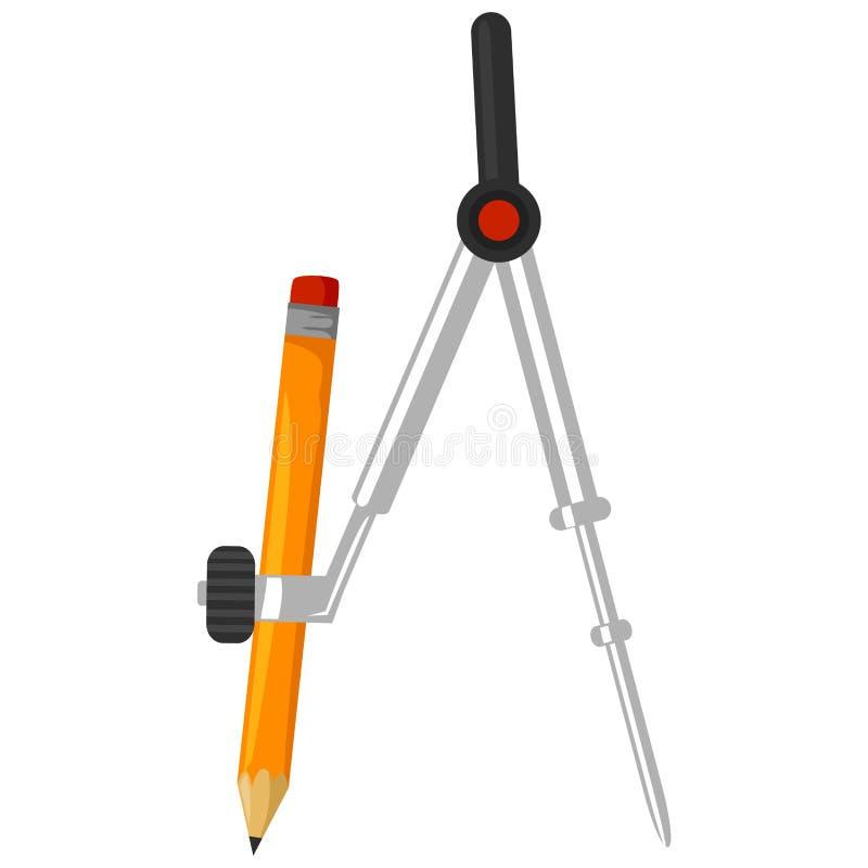 Compasso com lápis ilustração stock
