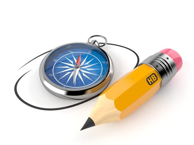 Compasso com lápis ilustração do vetor