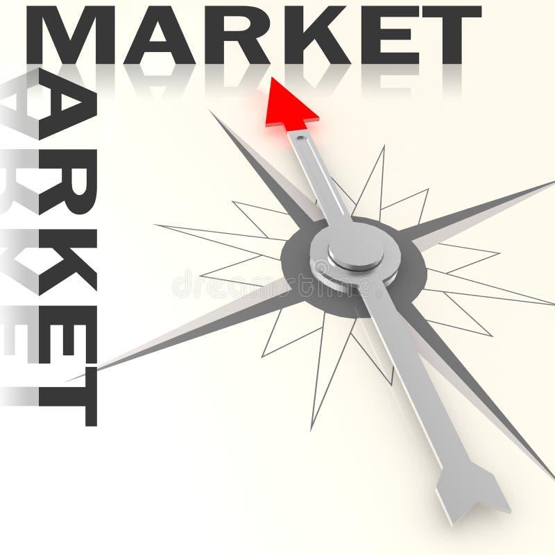 Compasso com palavra do mercado isolado ilustração royalty free