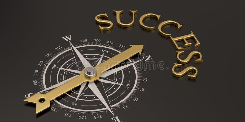 Compasso com sucesso do ouro na ilustração preta do fundo 3D ilustração royalty free
