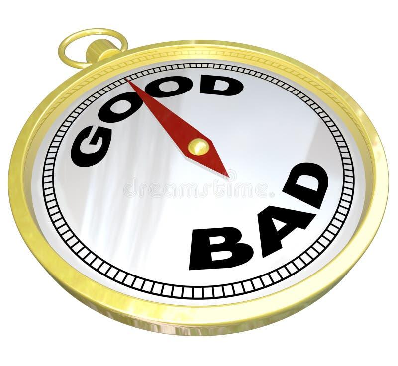 Compasso - conduzindo ao trajeto de bom contra o mau ilustração do vetor
