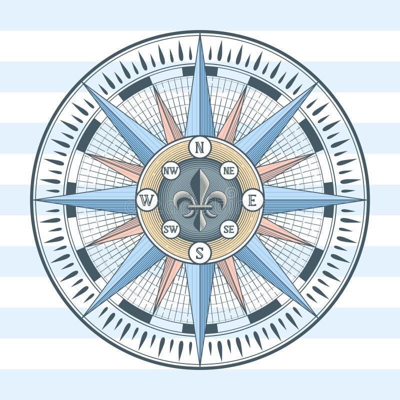 Compasso cor-de-rosa do vento ilustração royalty free