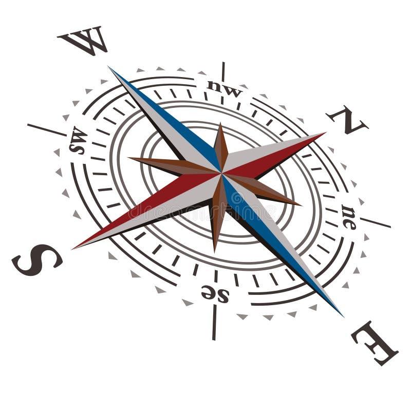 Compasso cor-de-rosa do vento do vetor de 3 D imagem de stock royalty free