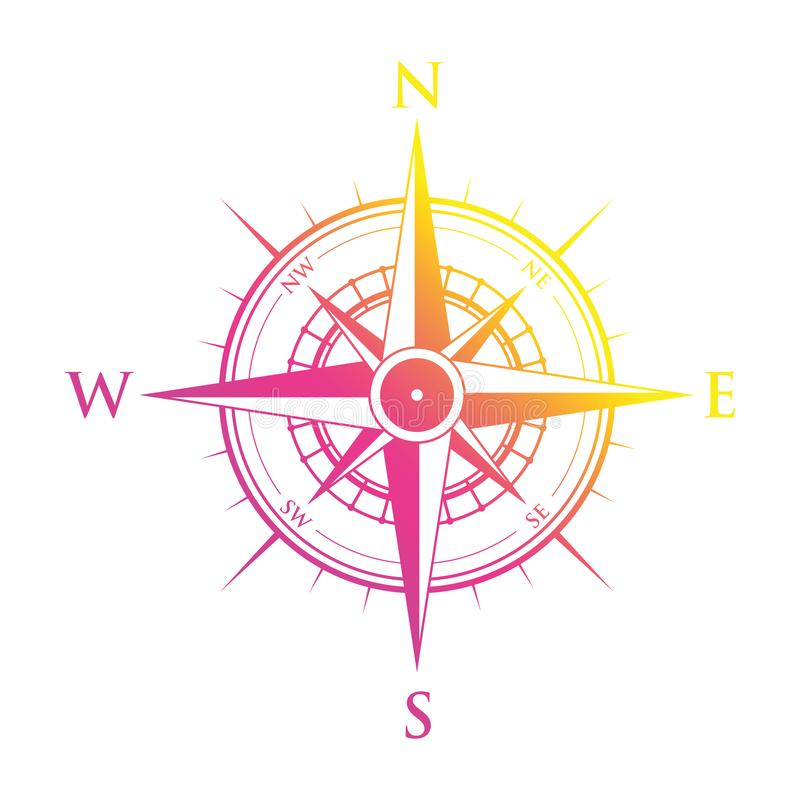 Compasso cor-de-rosa e amarelo ilustração stock