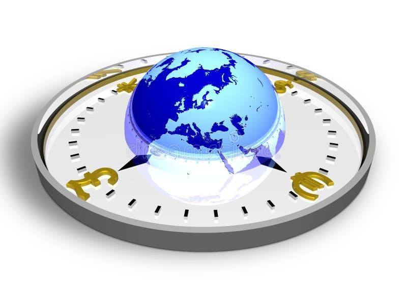Compasso da moeda com globo ilustração royalty free