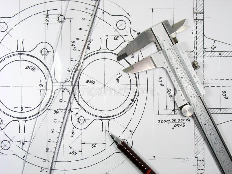 Compasso de calibre, régua e lápis em desenhos técnicos. foto de stock royalty free