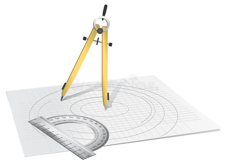Compasso de desenho ilustração do vetor