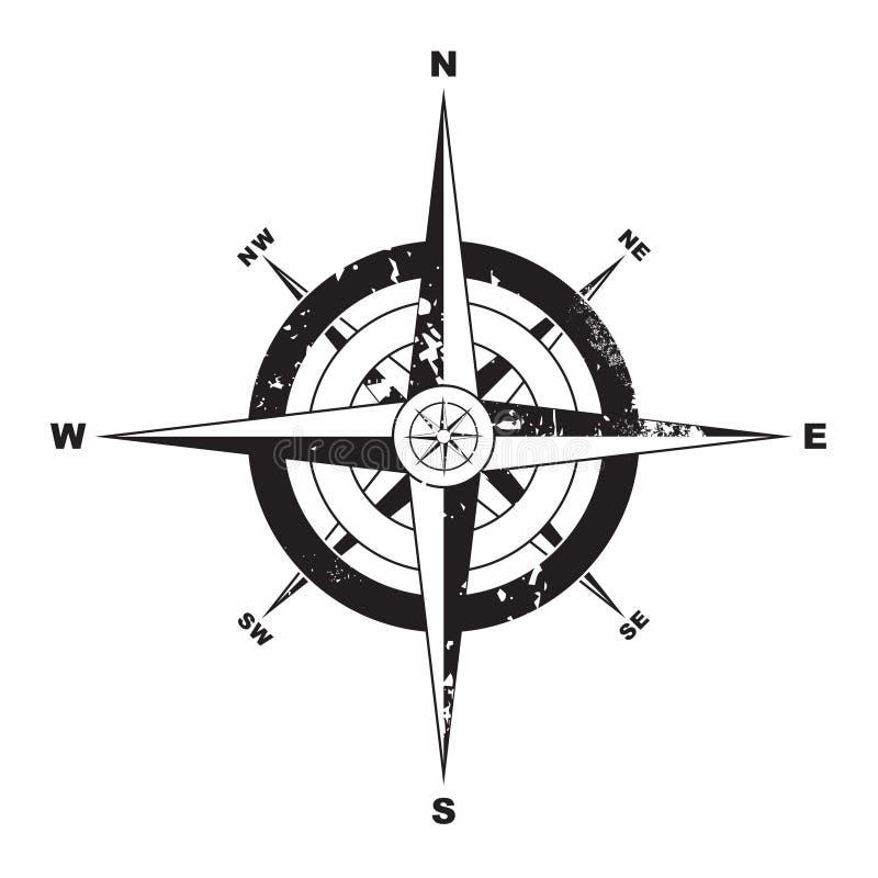 Compasso de Grunge ilustração do vetor