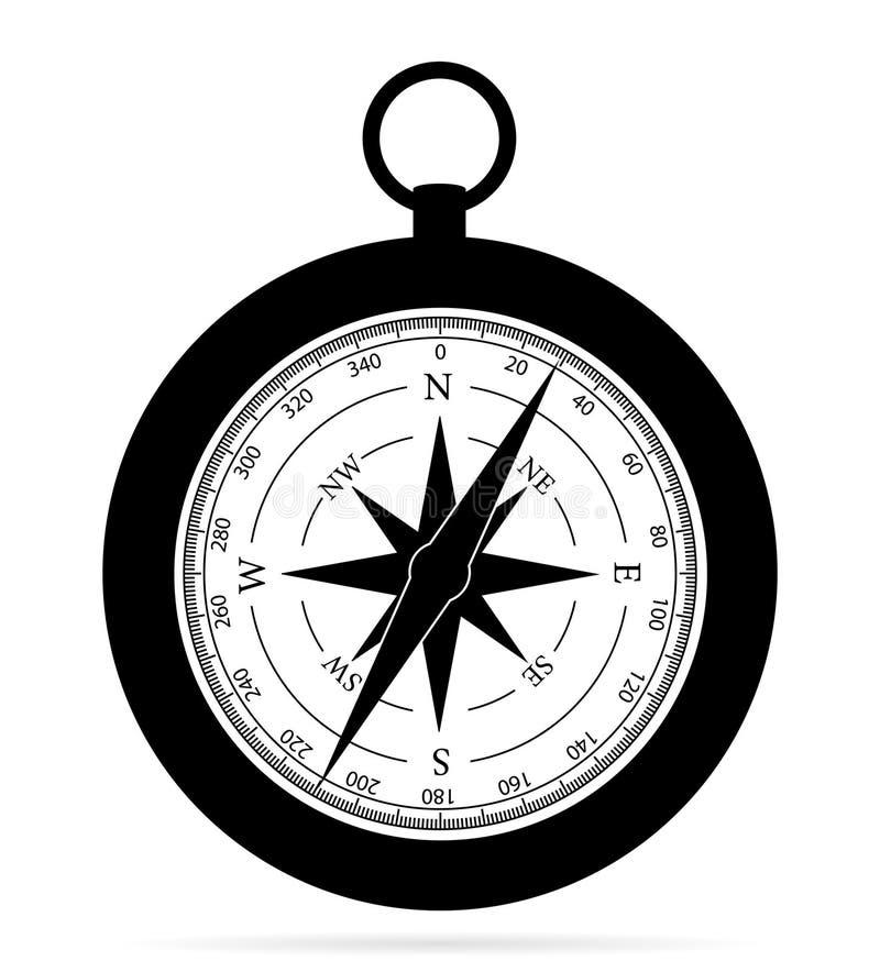 Compasso do mar para determinar o lado da ilustração do vetor do estoque da silhueta do esboço do preto do mundo ilustração royalty free