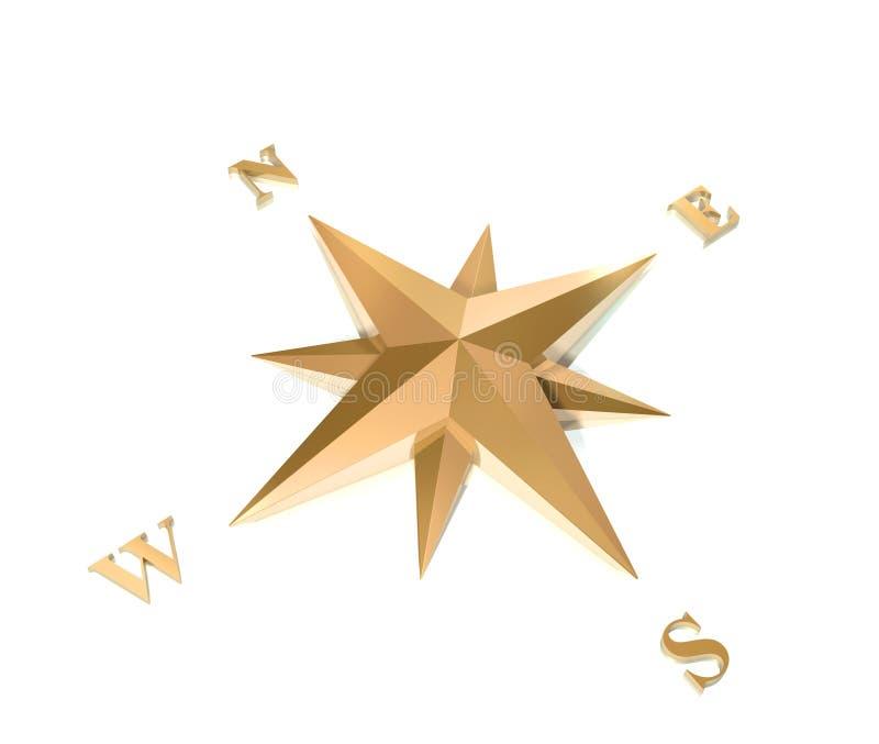 compasso do ouro 3d ilustração stock