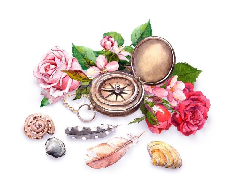 Compasso do vintage, flores, shell do mar, penas conceito do curso watercolor ilustração stock