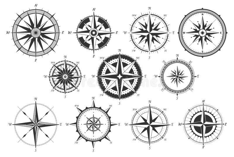 Compasso do vintage O vintage náutico dos sentidos do mapa aumentou vento Medida marinha retro do vento Windrose circunda ícones  ilustração do vetor