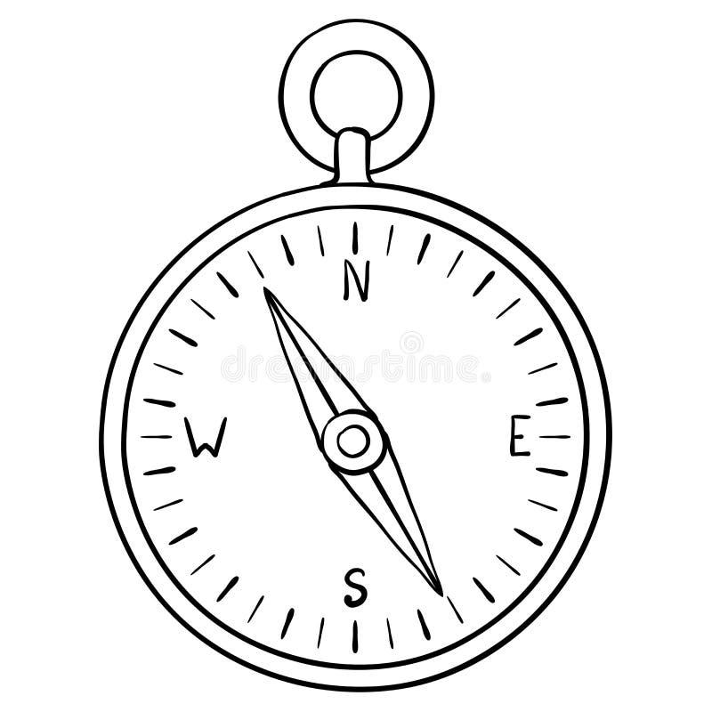 Compasso doodle ilustração stock