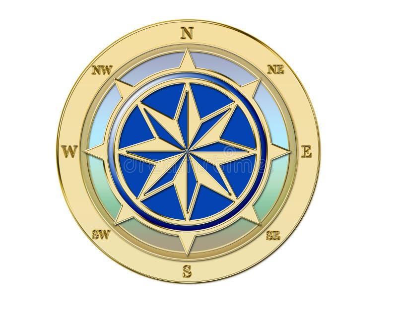 Compasso dourado ilustração do vetor