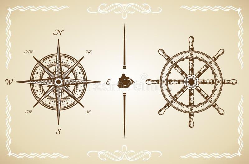 Compasso e leme do vintage do vetor ilustração royalty free