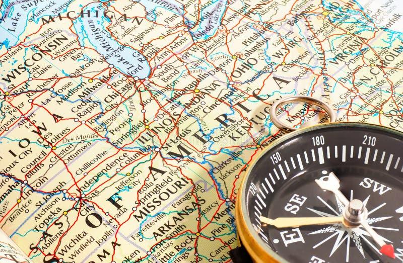 Compasso e mapa America do Norte fotos de stock royalty free