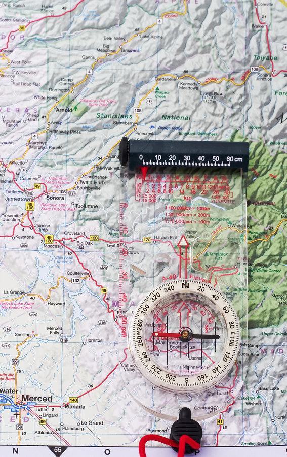 Compasso em um mapa fotos de stock