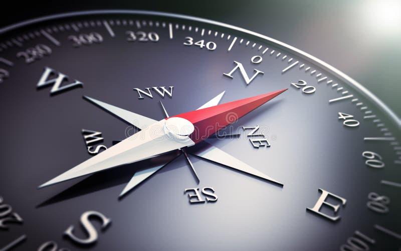 Compasso escuro com a agulha de prata e vermelha ilustração do vetor