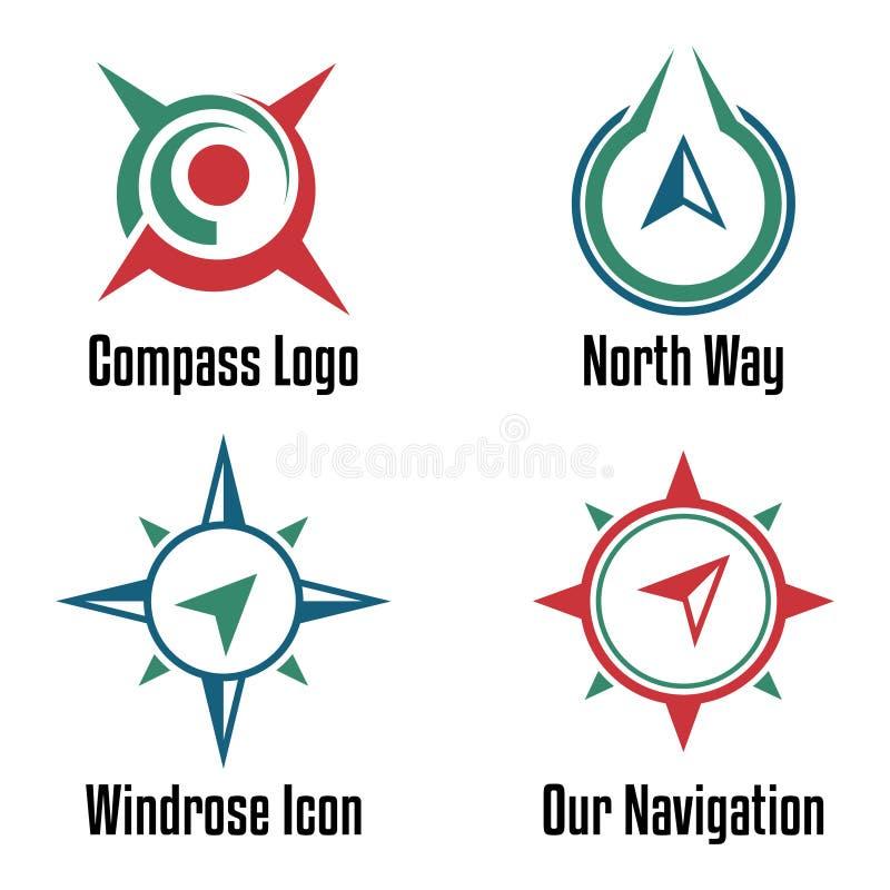 Compasso moderno simples Logo Symbol Template Set ilustração royalty free