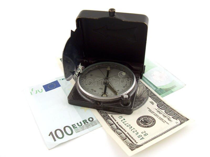 Compasso no dinheiro imagem de stock royalty free