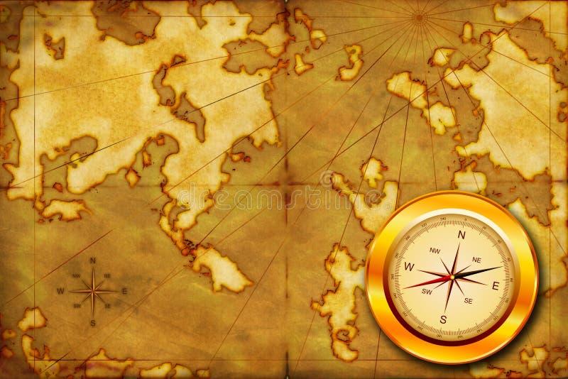 Compasso no mapa velho ilustração stock