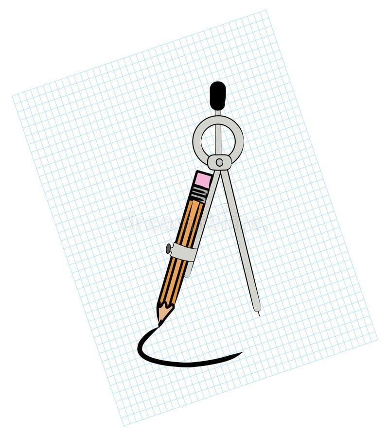 Compasso no papel de gráfico ilustração stock