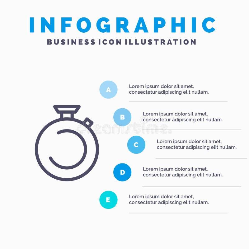 Compasso, pulso de disparo, cronômetro, temporizador, linha ícone do relógio com fundo do infographics da apresentação de 5 etapa ilustração do vetor
